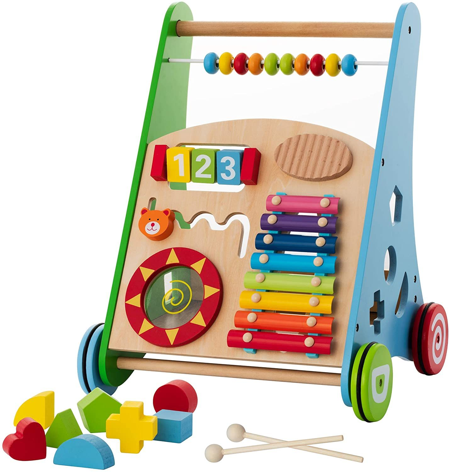 Baby Toys Kids Activity Toy Wooden Push And Pull Learning Walker For Boys And Girls Multiple Activities C In 2020 Activity Toys Wooden Baby Walker Baby Musical Toys