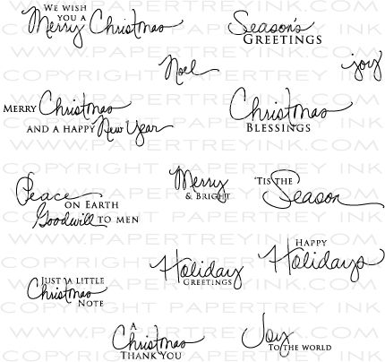 signature christmas stamp set from papertrey ink - Christmas Card Signatures