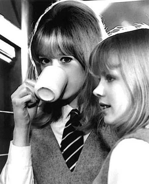 theswinginsixties:    Pattie Boyd on the set of 'A Hard Day's Night', 1964.