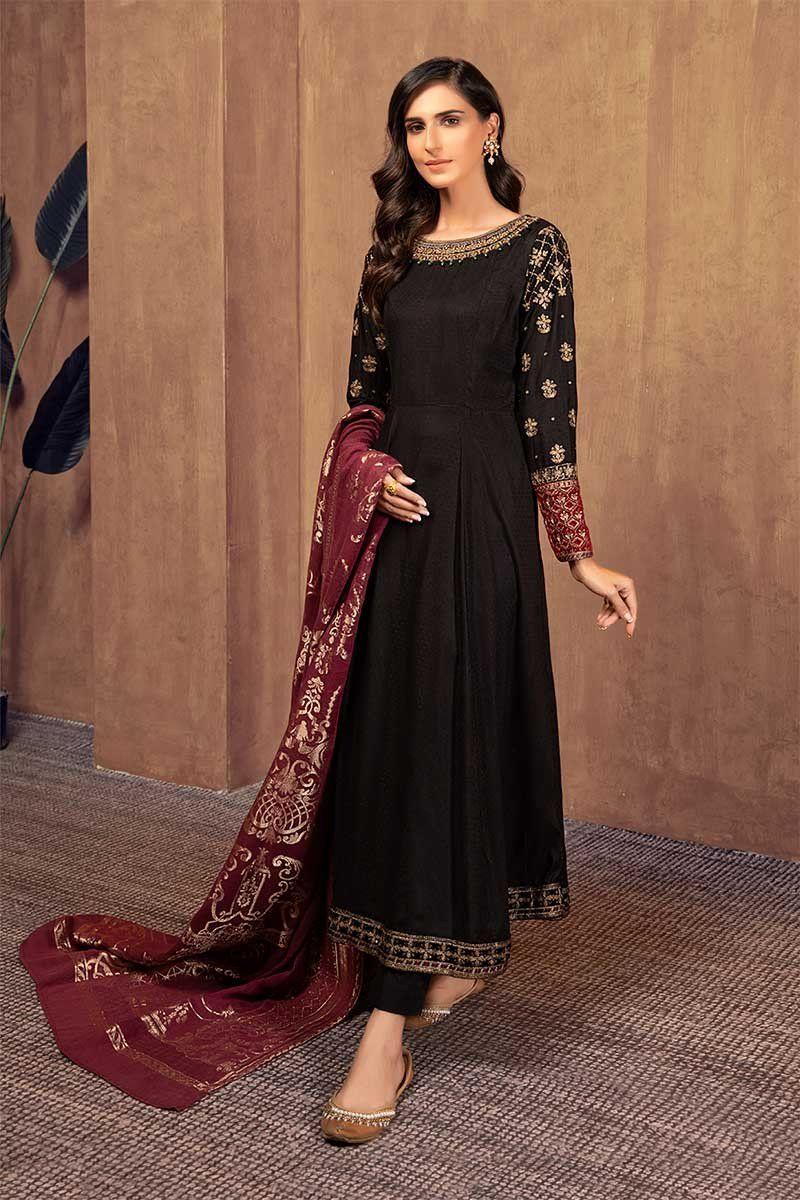 Suit Black Dw W19 15 Black Pakistani Dress Cotton Long Dress Stylish Dress Designs [ 1200 x 800 Pixel ]