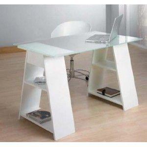 Mesa caballetes con estantes y sobre cristal kme1037004 mesas escritorio - Mesa con caballetes ...