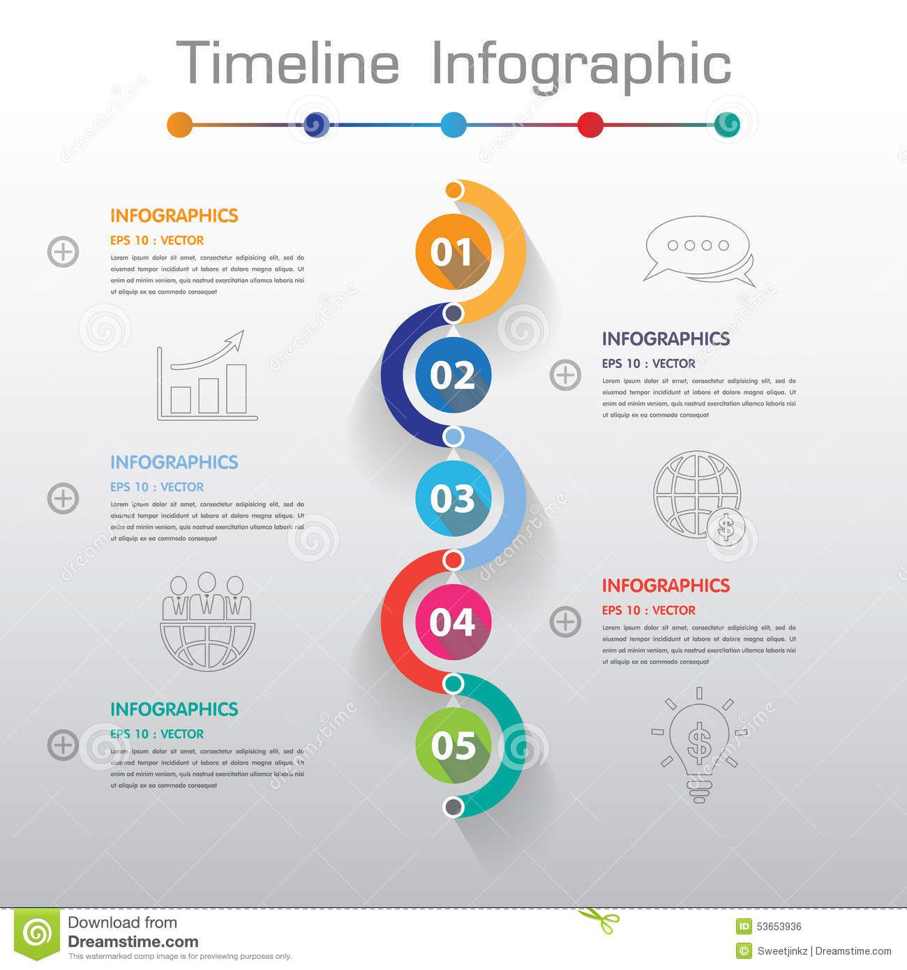long shadow design clean number timeline template  graphic