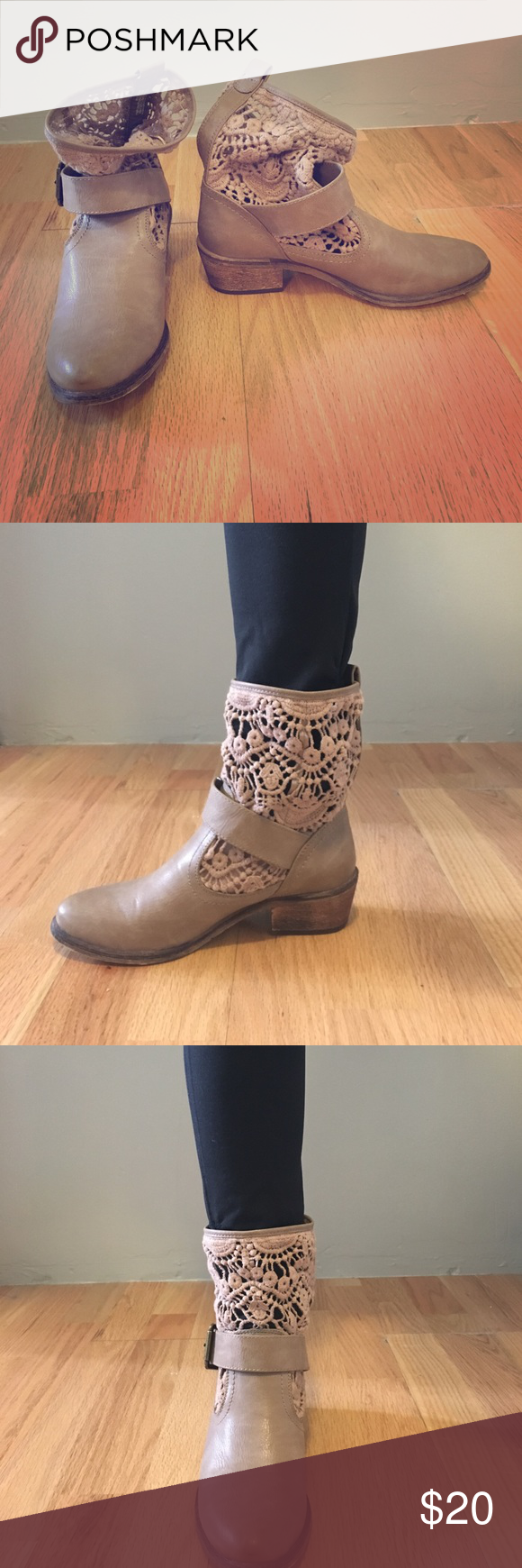 Cute tan booties Cute size 6 boots in great condition. Bare Traps Shoes Ankle Boots & Booties