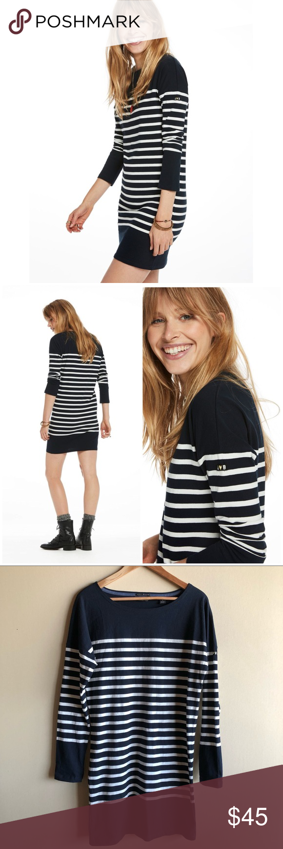 Scotch u soda breton striped long sleeve dress