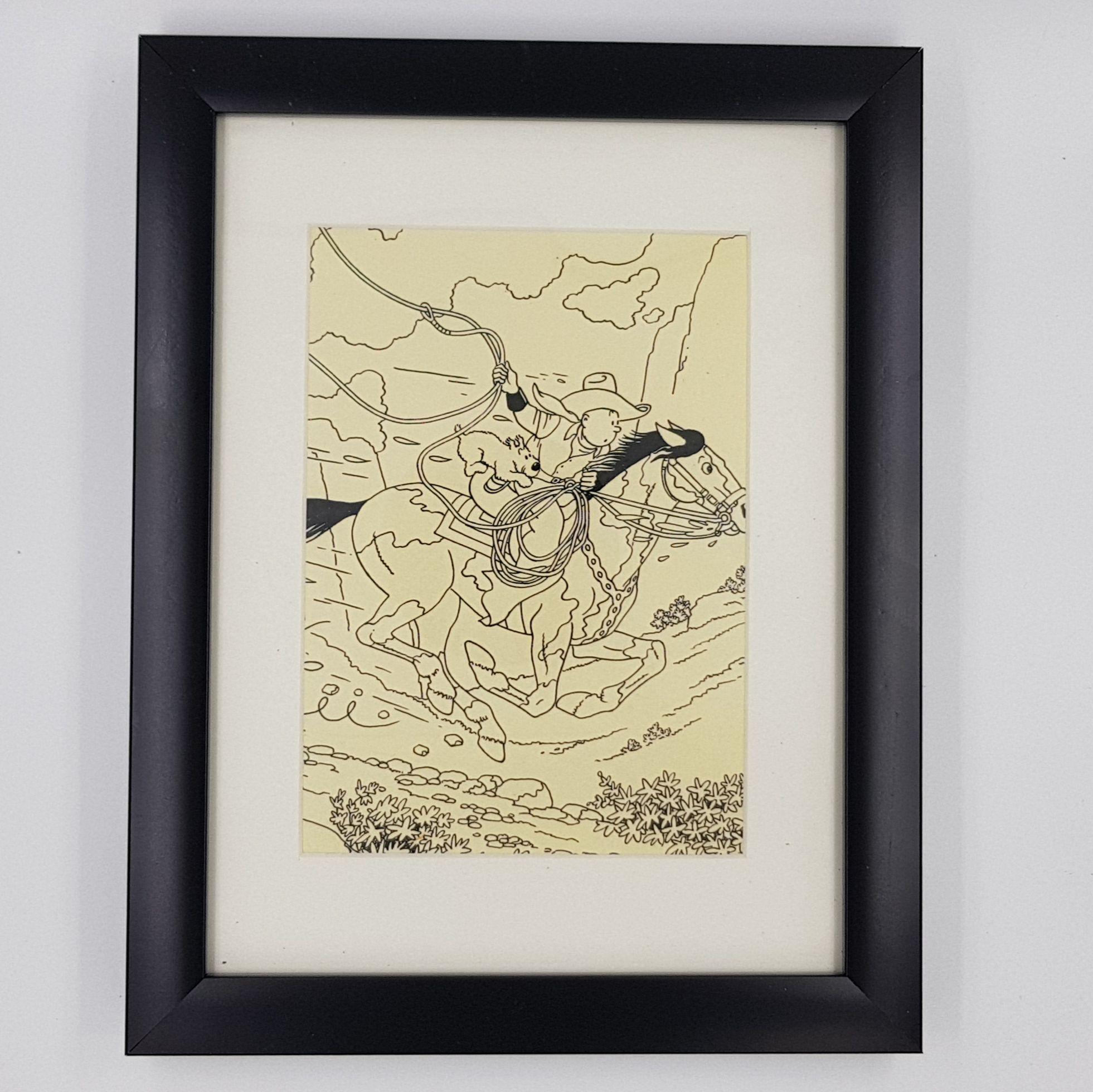 Cheval Tintin Billede I Sort Ramme Moulinsart Tintin Ramme Og Sort
