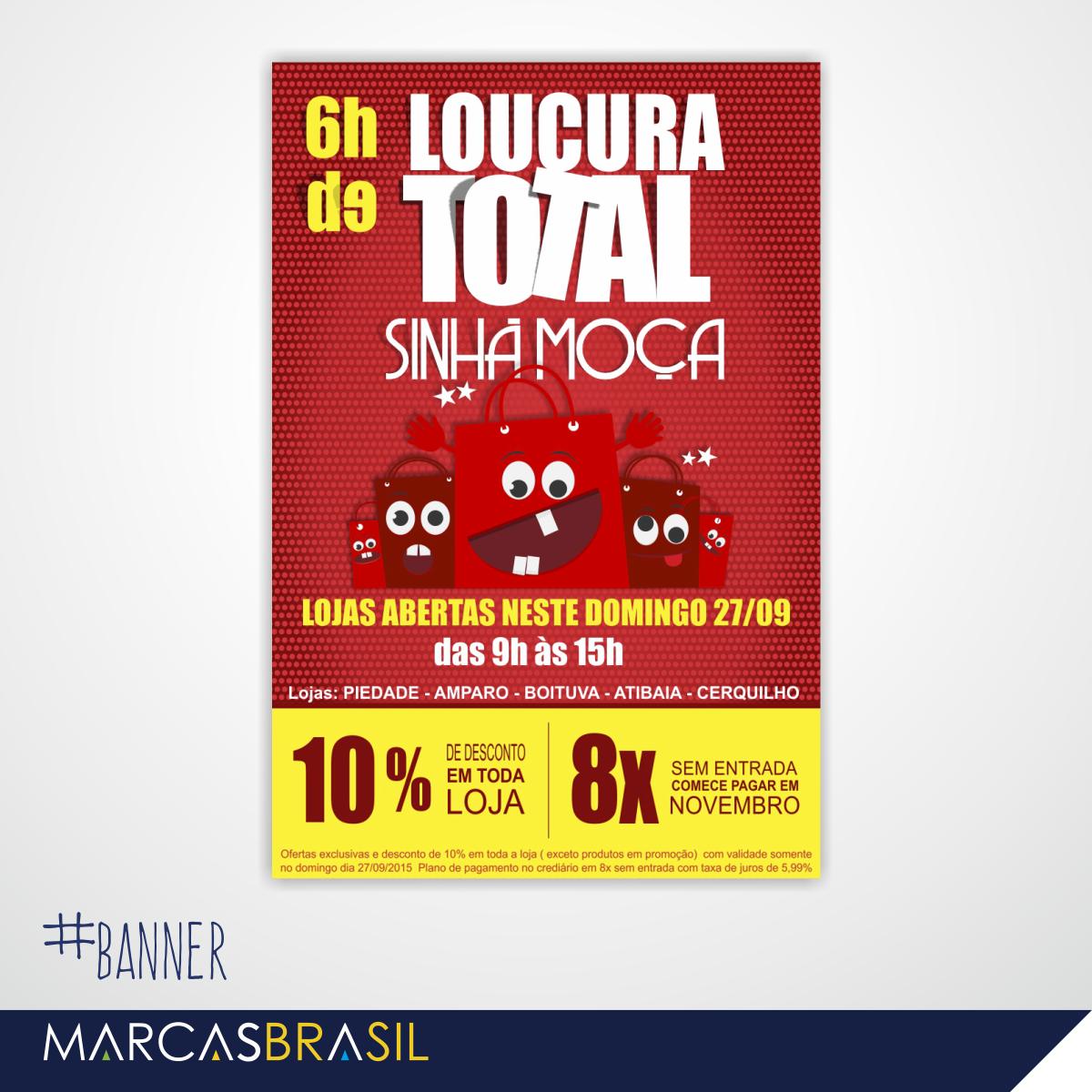 Banner – Sinhá Moça > Desenvolvimento de banner para as lojas Sinhá Moça < #banner #marcasbrasil #agenciamkt #publicidadeamericana