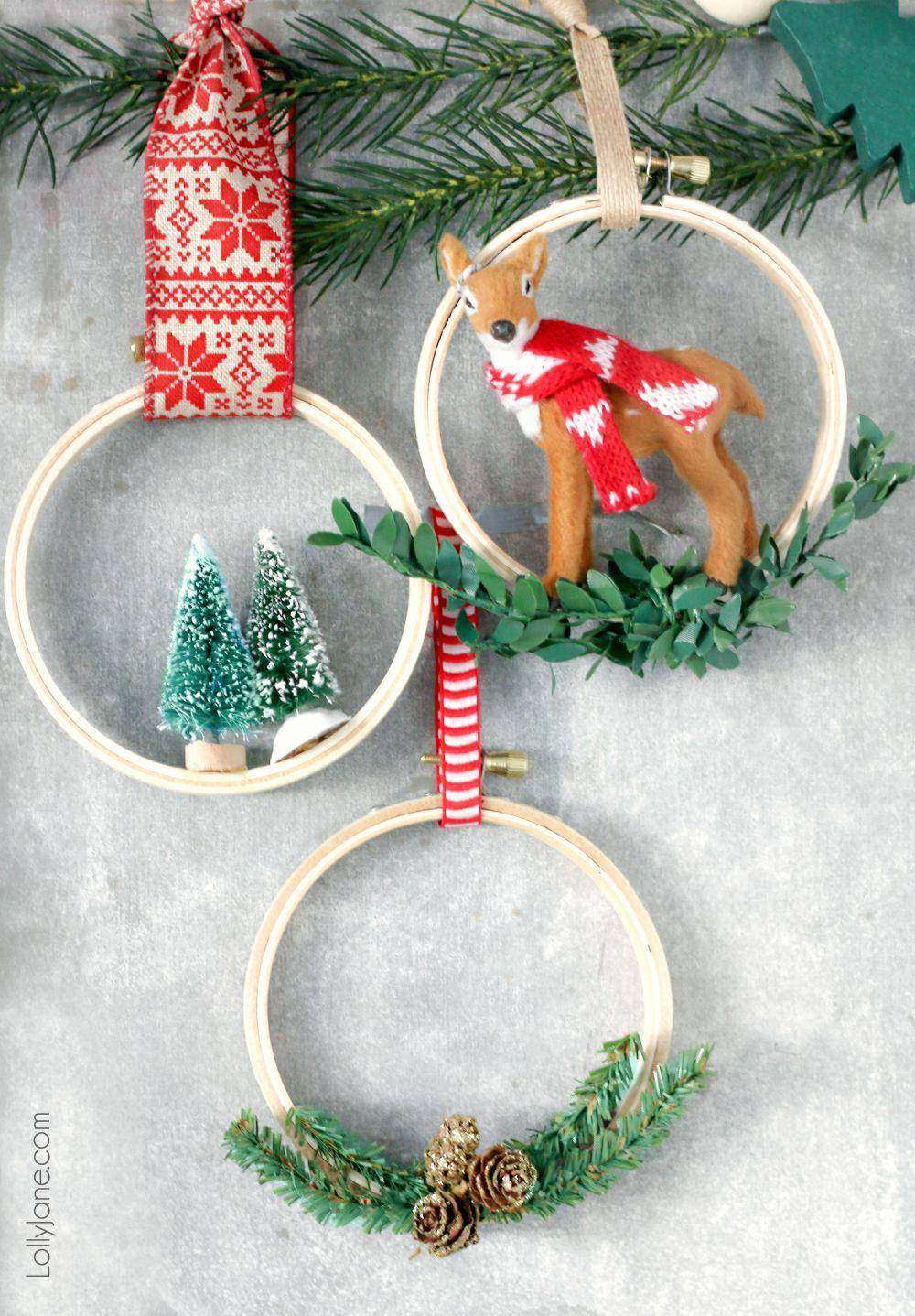 Easy Embroidery Hoop Christmas Ornaments Lolly Jane Easy Christmas Diy Diy Christmas Ornaments Christmas Decor Diy