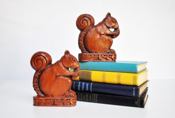 Vintage Wooden Squirrel Bookends by thewhitepepper on Etsy, $58.50