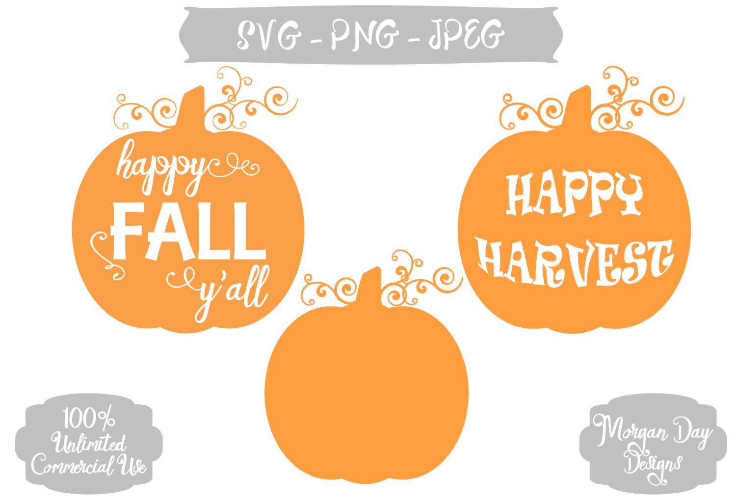 Happy Fall Y'all SVG, Fall, Harvest, Pumpkin Cuttable Vector, Commercial Use, Instant Download, Silhouette Studio, SVG Cut File by MorganDayDesigns on Etsy