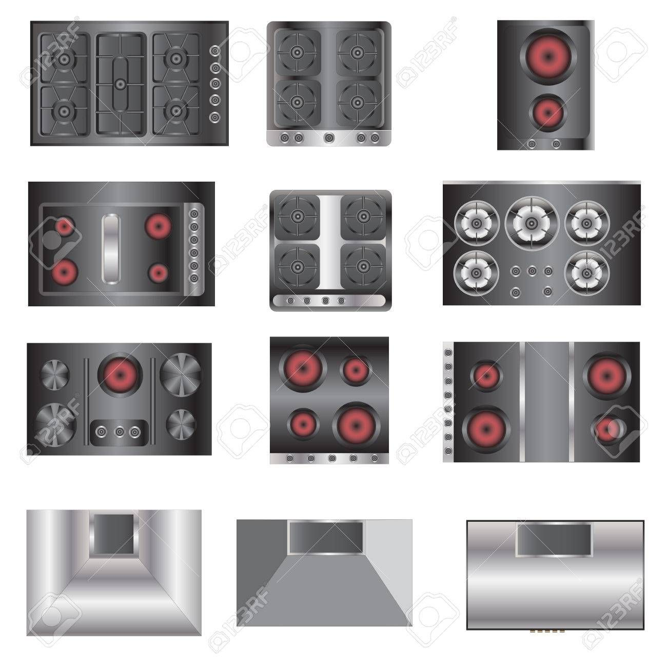 stock vector in 2020 kitchen equipment electric stove top view on kitchen interior top view id=78802
