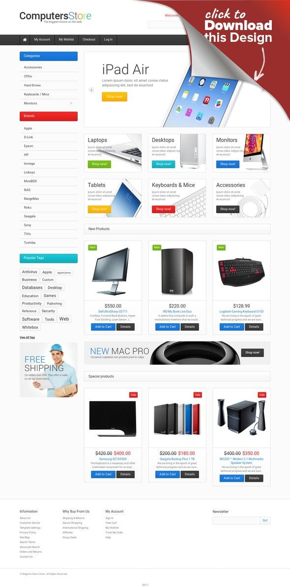 Responsives Magento Theme für Computergeschäft | Site design