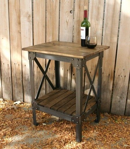 Handmade scrap metal and wood table end table nightstand plant