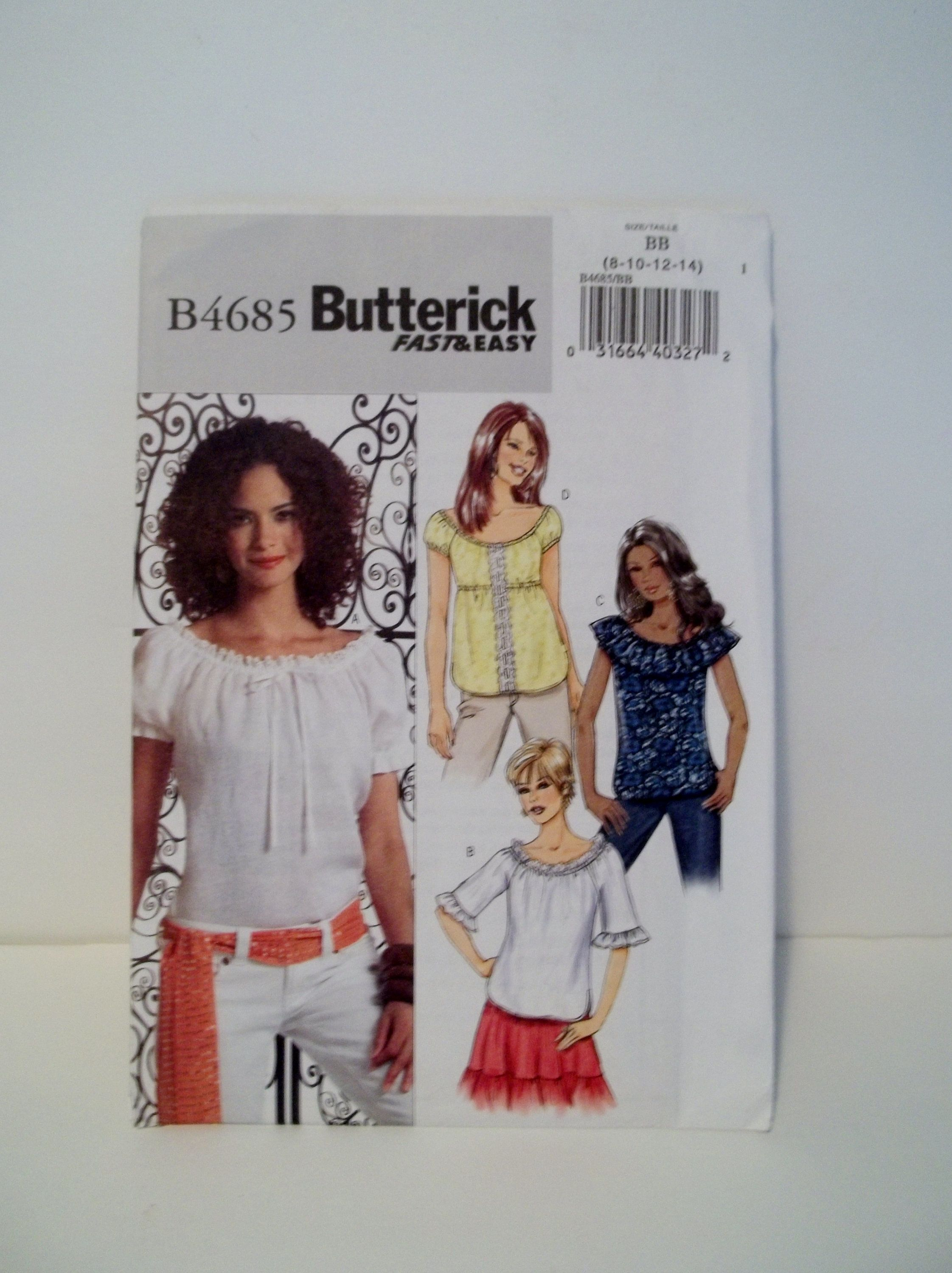 Misses' Boho Peasant Top Butterick B4685 Sewing Pa