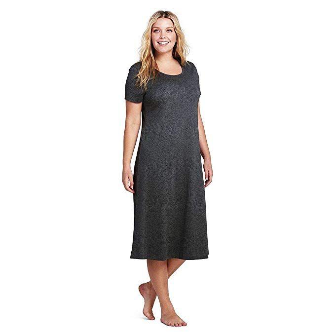 f48bdbb3a Lands' End Women's Plus Size Women's Midcalf Supima Cotton Nightgown, 1X,  Charcoal Heather
