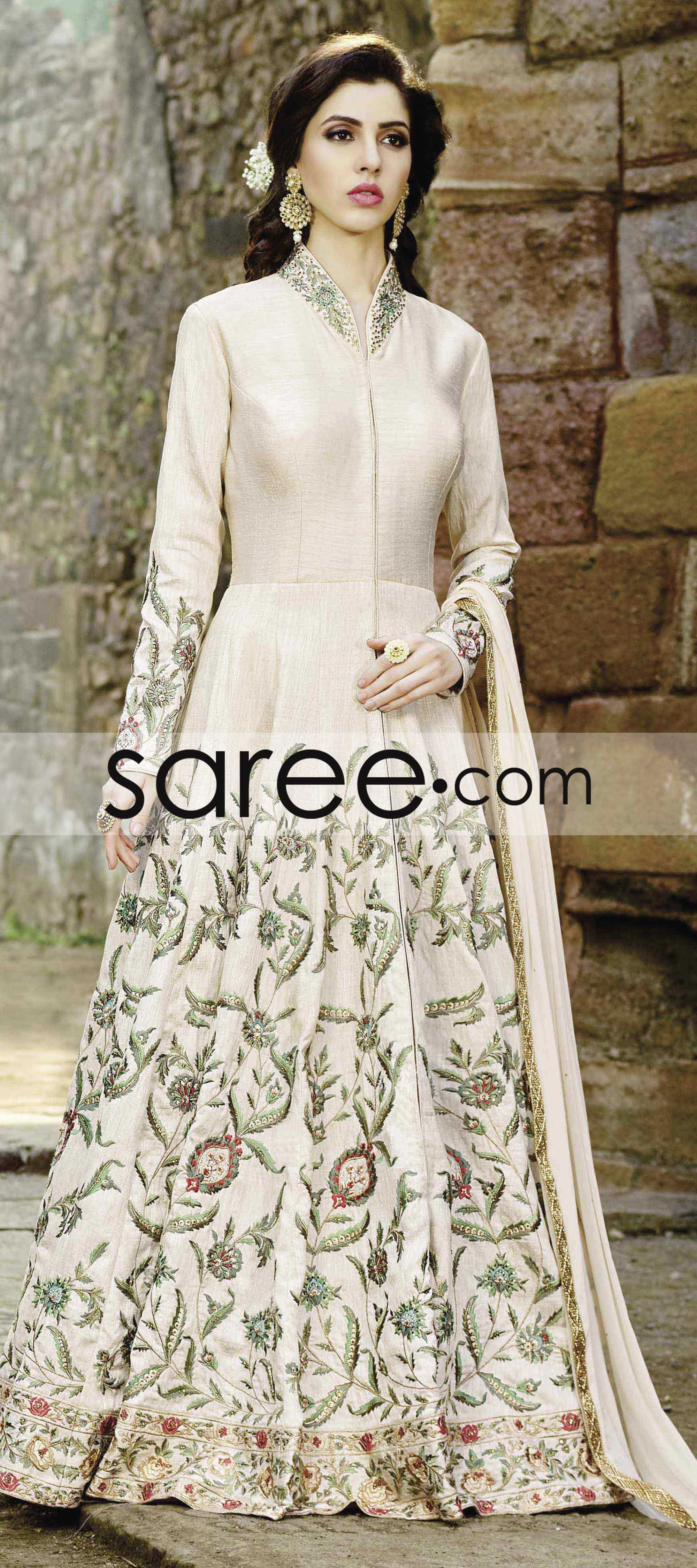 7d75e03b5e CREAM FRONT OPEN ANARKALI SUIT WITH HEAVY EMBROIDERY WORK | Kalki ...