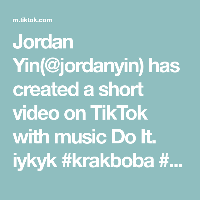 Jordan Yin Jordanyin Has Created A Short Video On Tiktok With Music Do It Iykyk Krakboba Boba Bobashop Work Music Do Anime Body Drawing Body Drawing