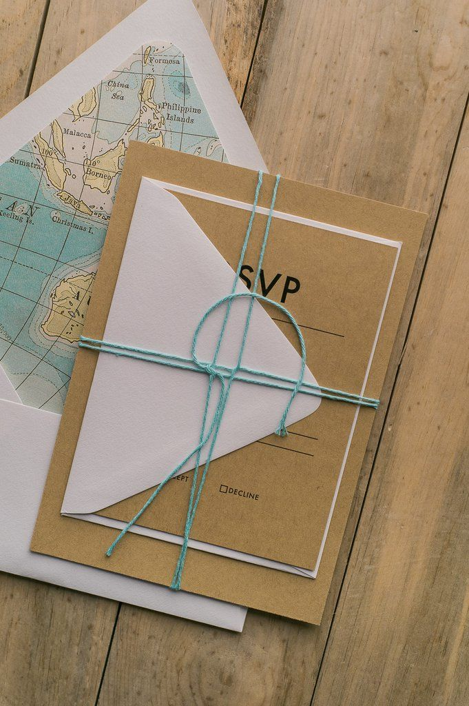 AARON Suite Rustic Package, travel wedding invitations, kraft, twine, map envelope liner, modern minimal wedding invitations