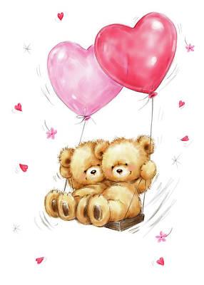Two Bears On Heart Swing By Makiko Valentines Day Drawing Valentines Day Bears Bear Valentines