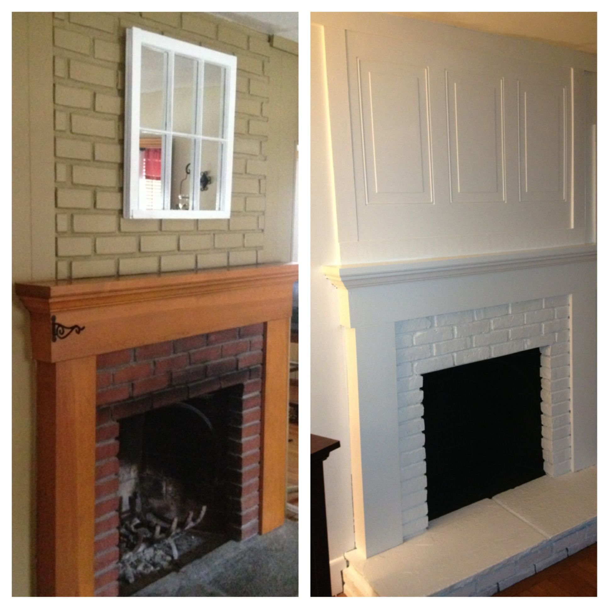 Finally done with fireplace redo Ugly old brick transformed White
