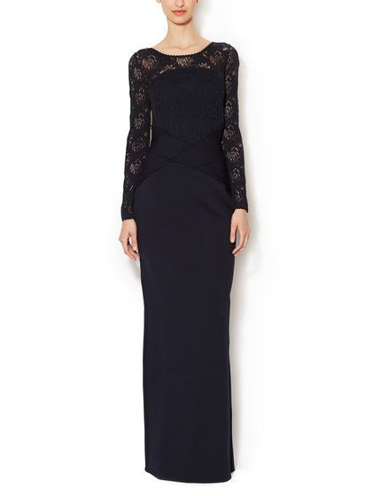 Lace V-Back Fitted Gown