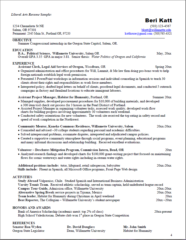 Great Example Of A Liberal Arts Resume Want More Information Click On The Link For An In Depth And Cover Letter Guide