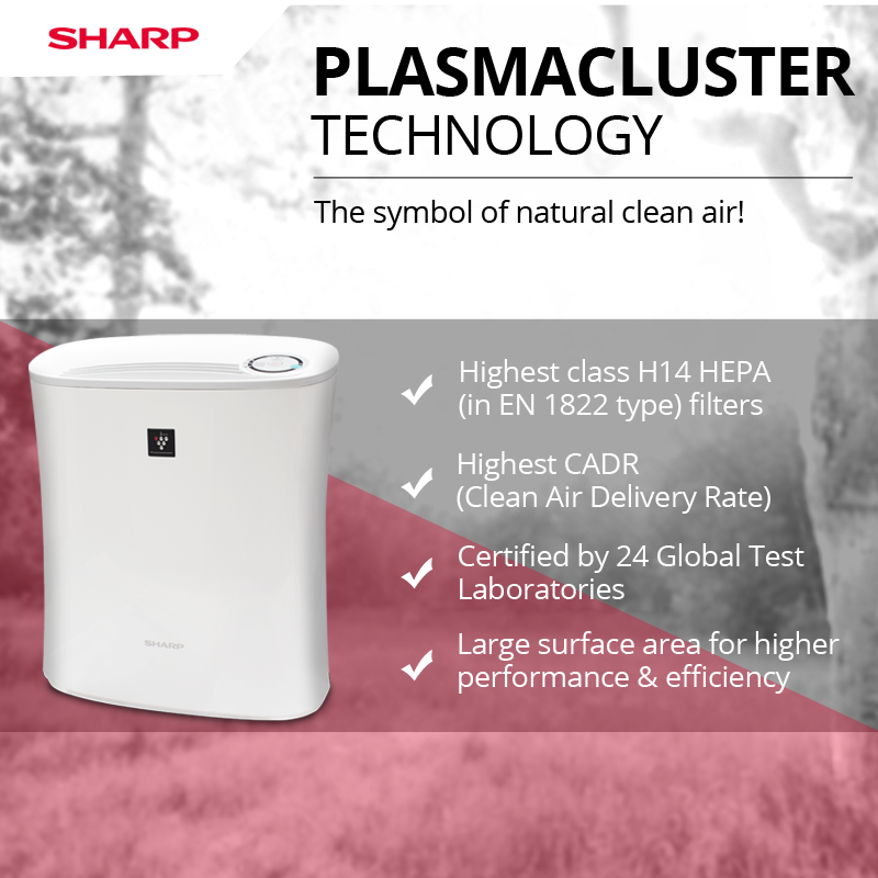 Sharp Brings To You All New Range Of Air Purifiers With Plasma Cluster Technology All Products Have Been Certified B Sharp Air Purifier Clean Air Air Purifier