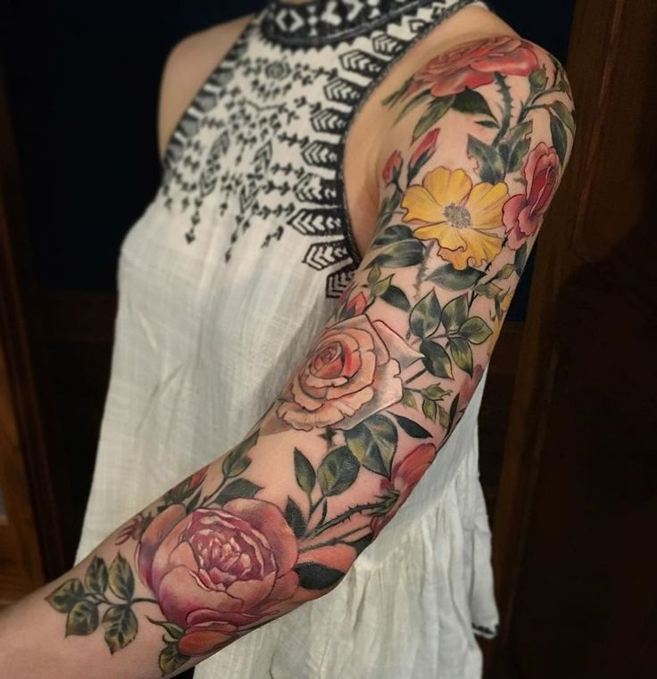 FLORAL SLEEVE | 211 best images about on Pinterest | Half sleeves, Sleeve and Dirt ...