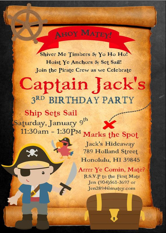 pirate birthday invitation personalized by picklesandposies pirate