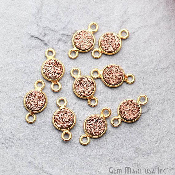 Rose Gold Druzy Connector 6mm Round Connector Gold Bail Connector