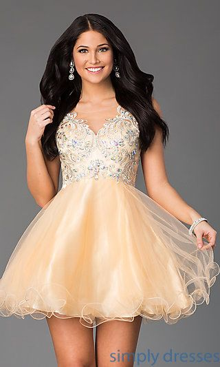 DQ-8850 - Short Sleeveless A-Line Dress with Illusion Bodice ...