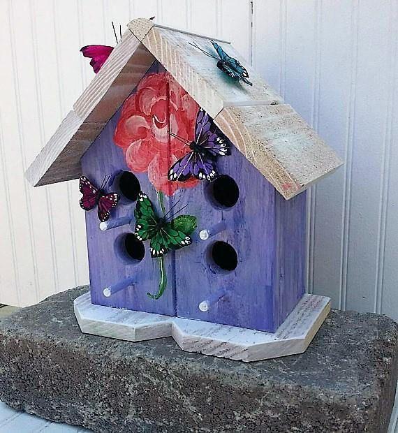 Floral Birdhouse Decor-Purple Birdhouse gifts-Pretty Yard   Agape ...