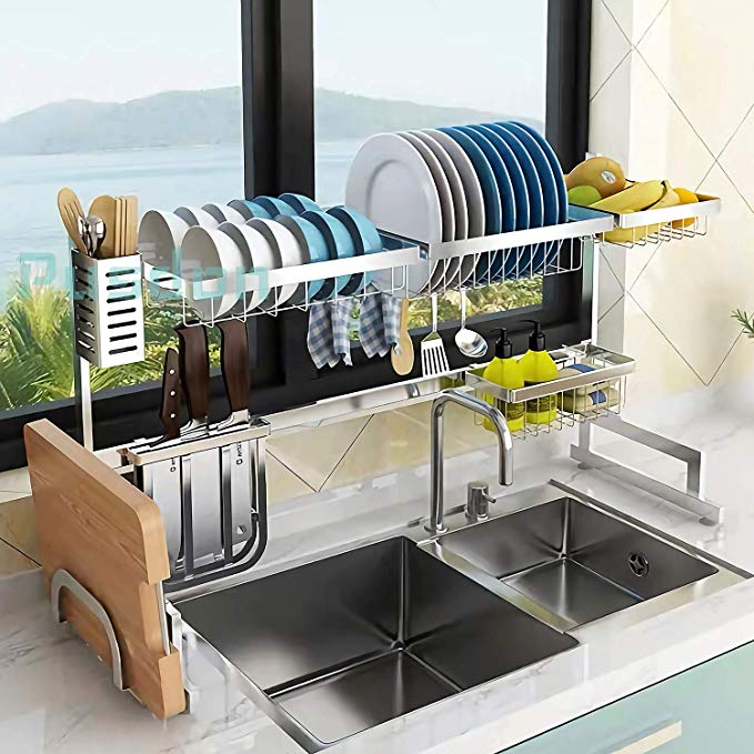 Amazon Com Over Sink 32 Dish Drying Rack Drainer Shelf For