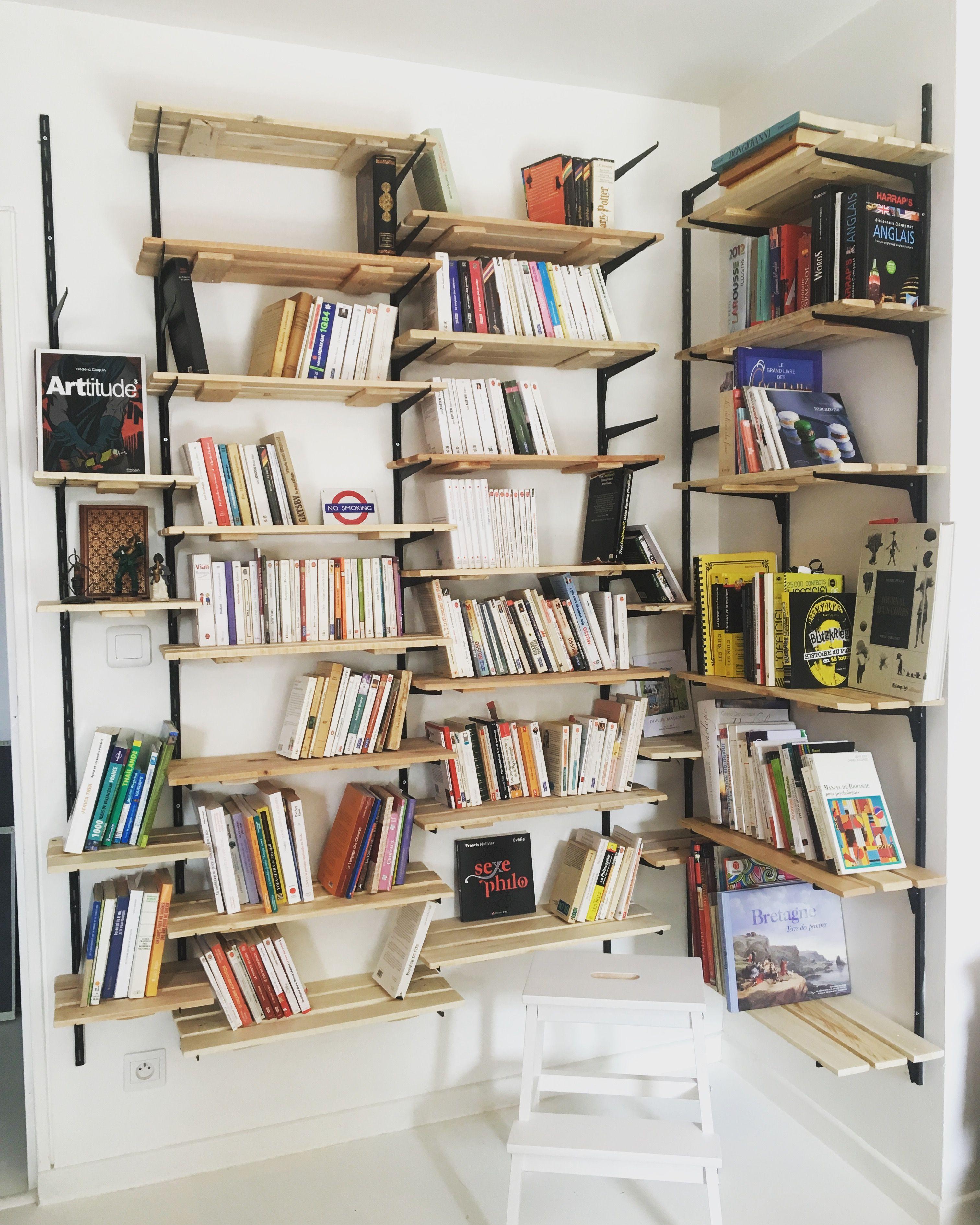 Bibliotheque Modulable Diy Bibliotheque En Palette Amenagement Maison Etageres Murales Salon