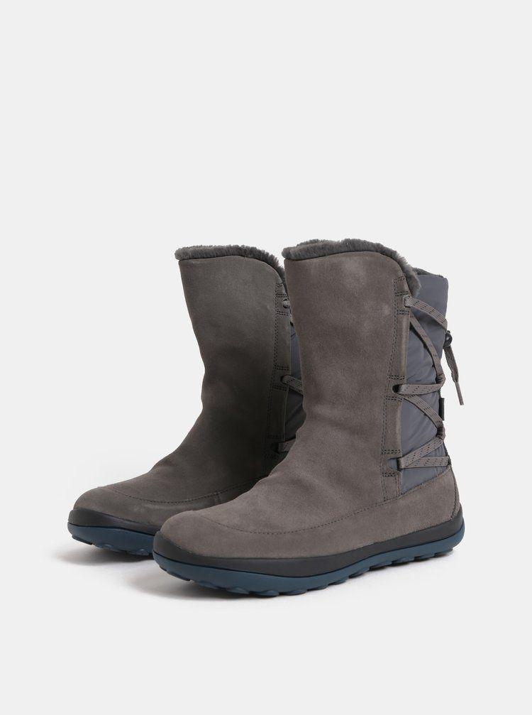 8139728acf Šedé dámské semišové kotníkové boty s vnitřním umělým kožíškem Camper Peu  Pista