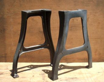 Awesome Set Of Cast Iron / Steel Factory Table Legs. These Have Been Soda  Blasted And Are Clean And Raw.