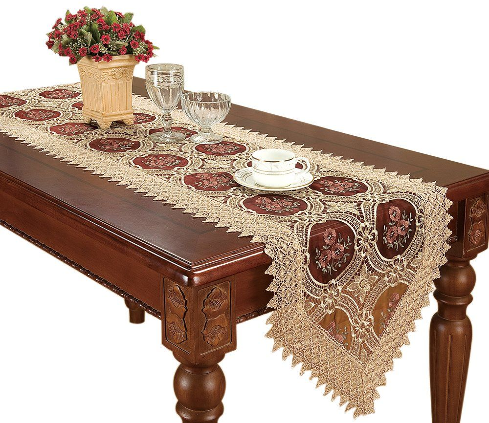 Simhomsen Vintage Gold Lace Table Runners And Scarves 16 By 120 Inch Long Lace Table Runners Lace Table Christmas Table Linen