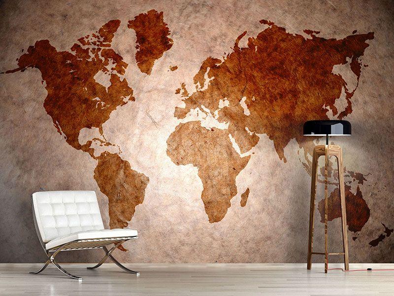 foto tapete vintage weltkarte fal dekor l s wall decoration. Black Bedroom Furniture Sets. Home Design Ideas