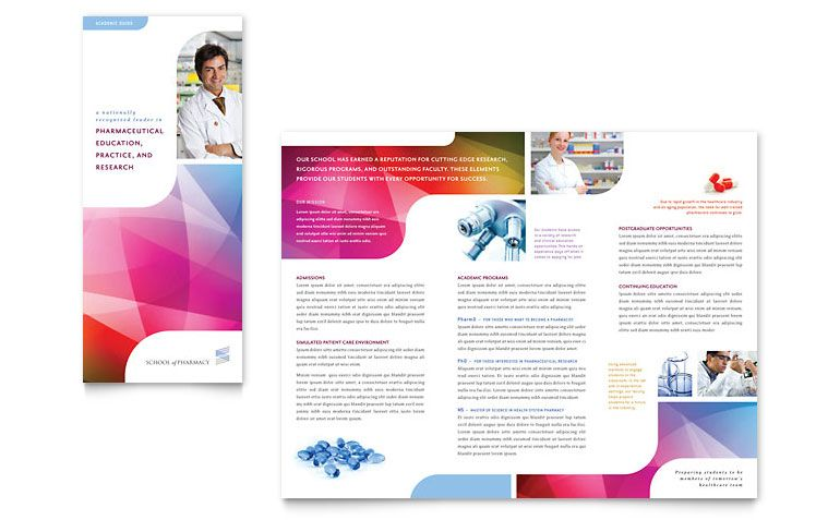 Pharmacy School Tri Fold Brochure  Word Template  Projects To