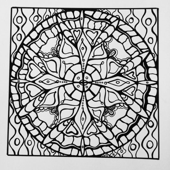 Samdala 012 Square Mandala Design To Color Inspired By Sacred Geometry And Zentangle PDF Download
