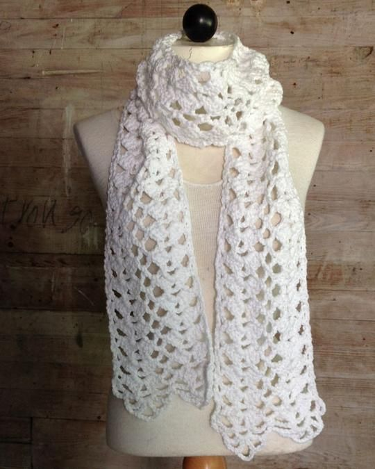 Lacy Shells Scarf Crochet Pattern | Beads,and Crocheting,and etc ...