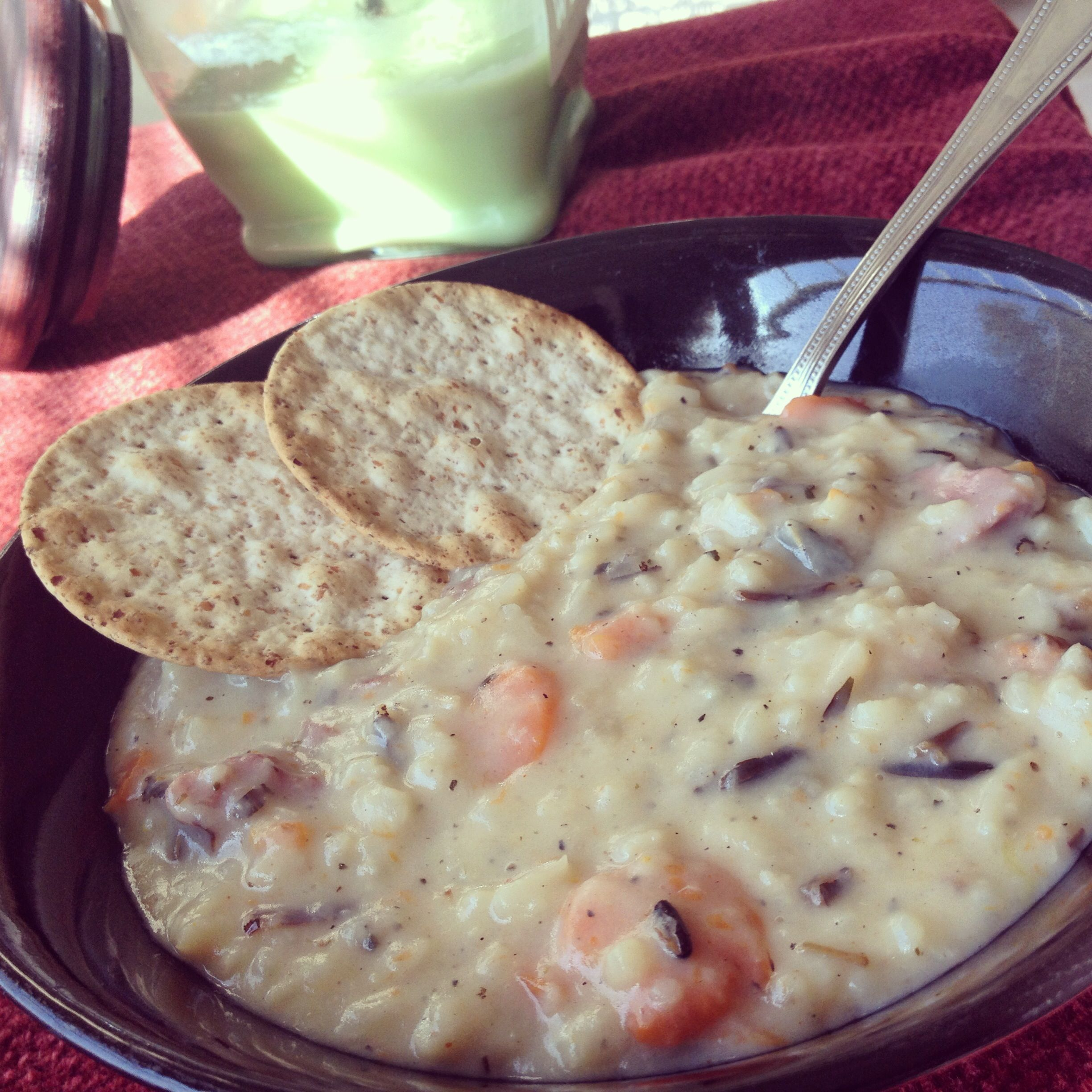 Creamy wild rice soup with smoked turkey