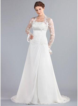 A-Line Princess Strapless Court Train Chiffon Wedding Dress With Ruffle  Lace Beading bfaaf28ff