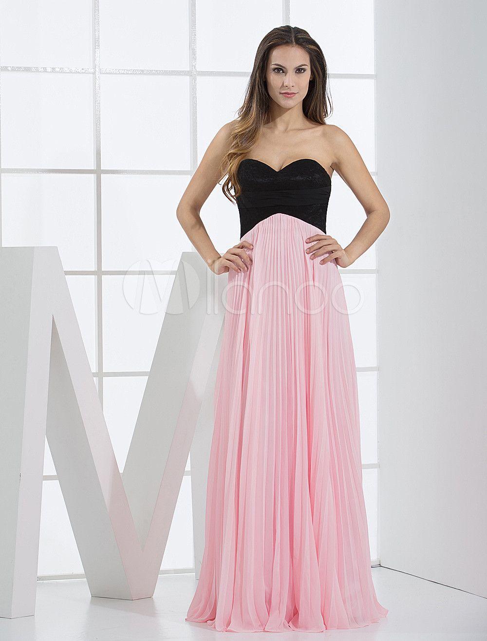 Milanoo ltd prom dresses pink chiffon sweetheart floor