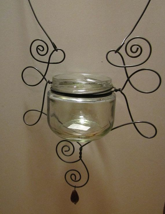 Hanging Wire Wrapped Glass Jar by ATwistofArt2010 on Etsy, $15.25