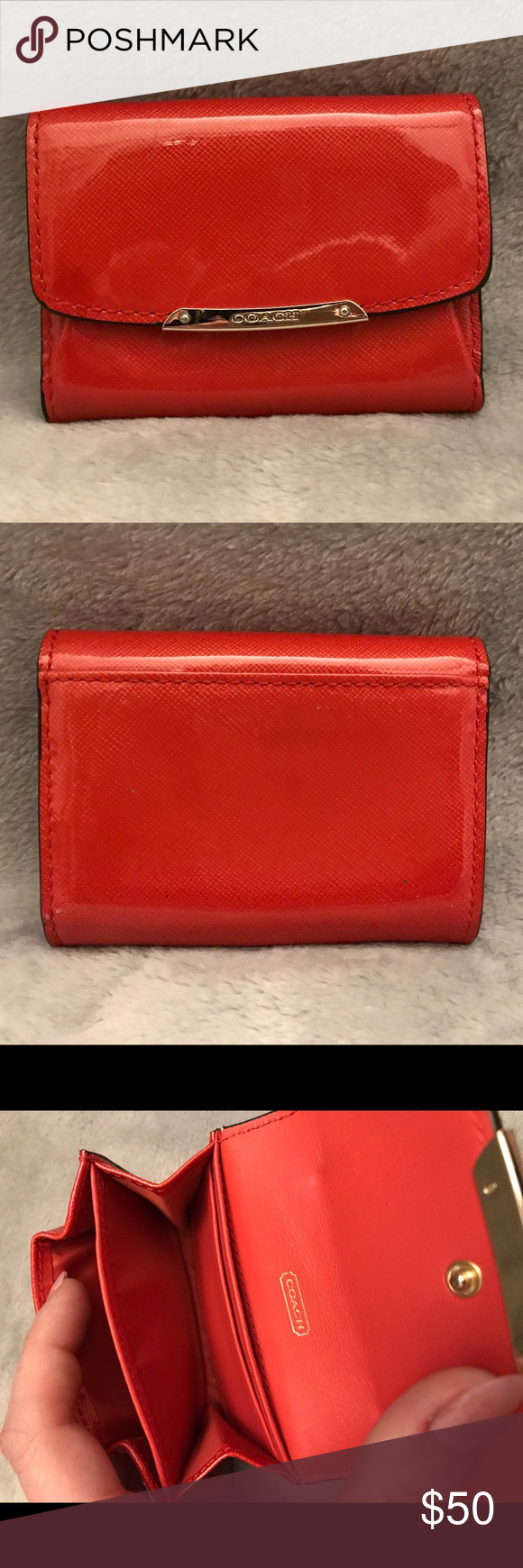 Coach patent leather business card holder/wallet Coach orange-red ...
