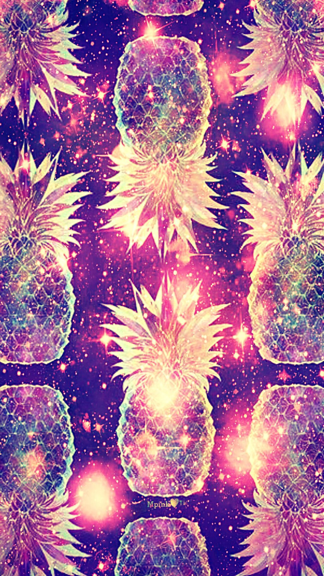 Glow Pineapples Galaxy Wallpaper Androidwallpaper