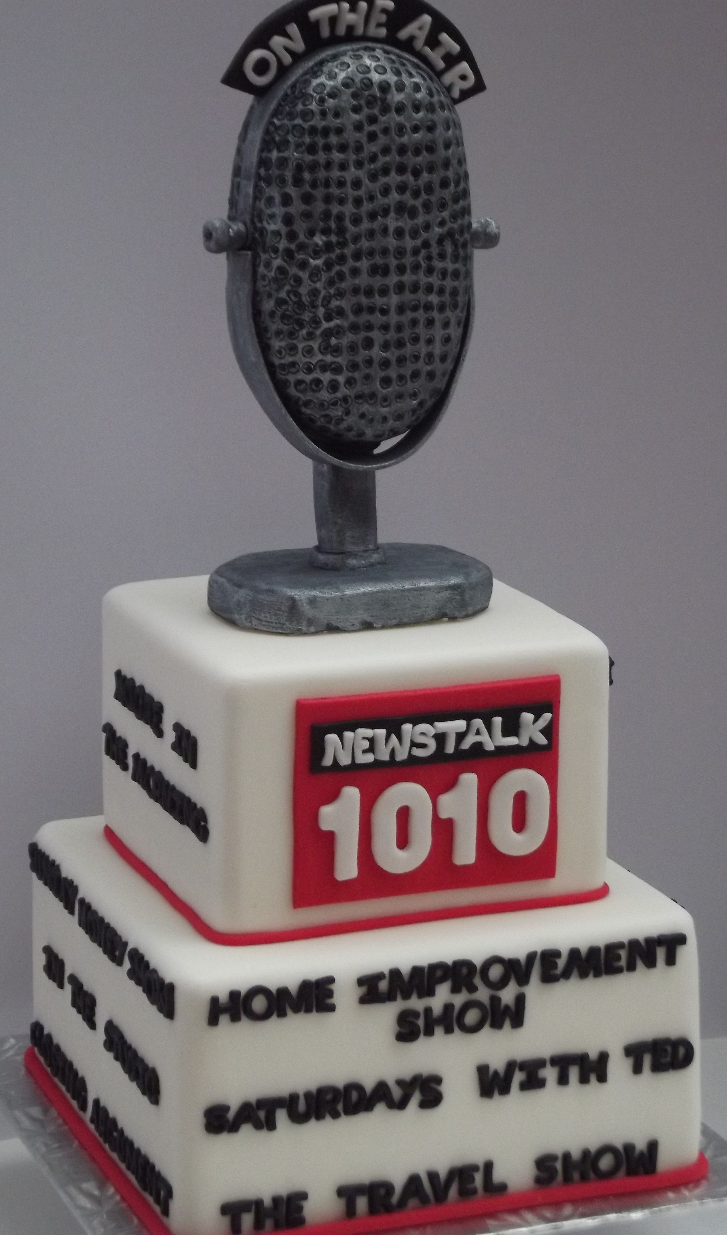 Custom cake for Newstalk 1010- love the microphone design!