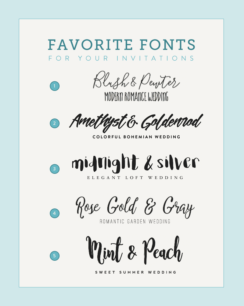 Five Font Pairings to Match Your Wedding Style Wedding