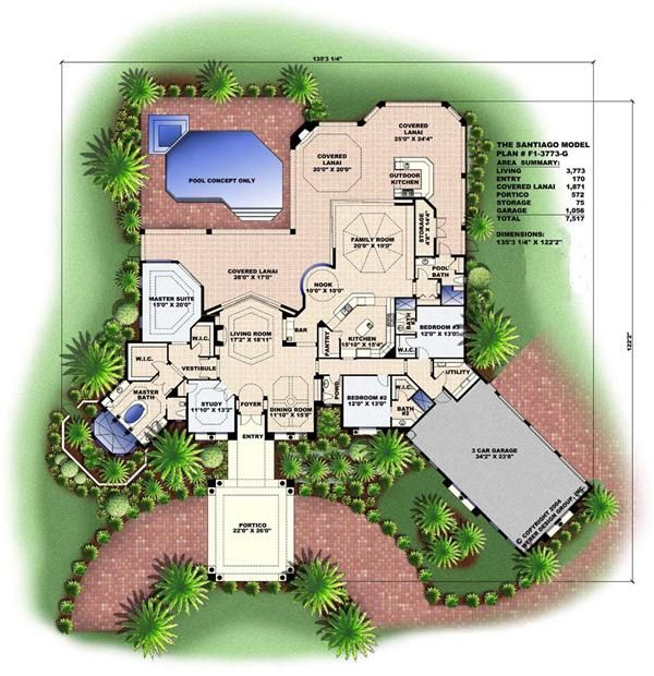 Florida Style Floor Plan 3 Bedrms 4 Baths 3773 Sq Ft 133