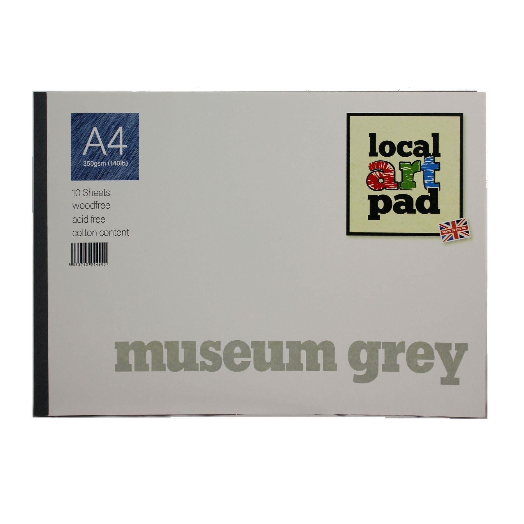 Local Art Pad Museum Grey A4 Grey Paper Pad 350gsm 10 Sheets Art